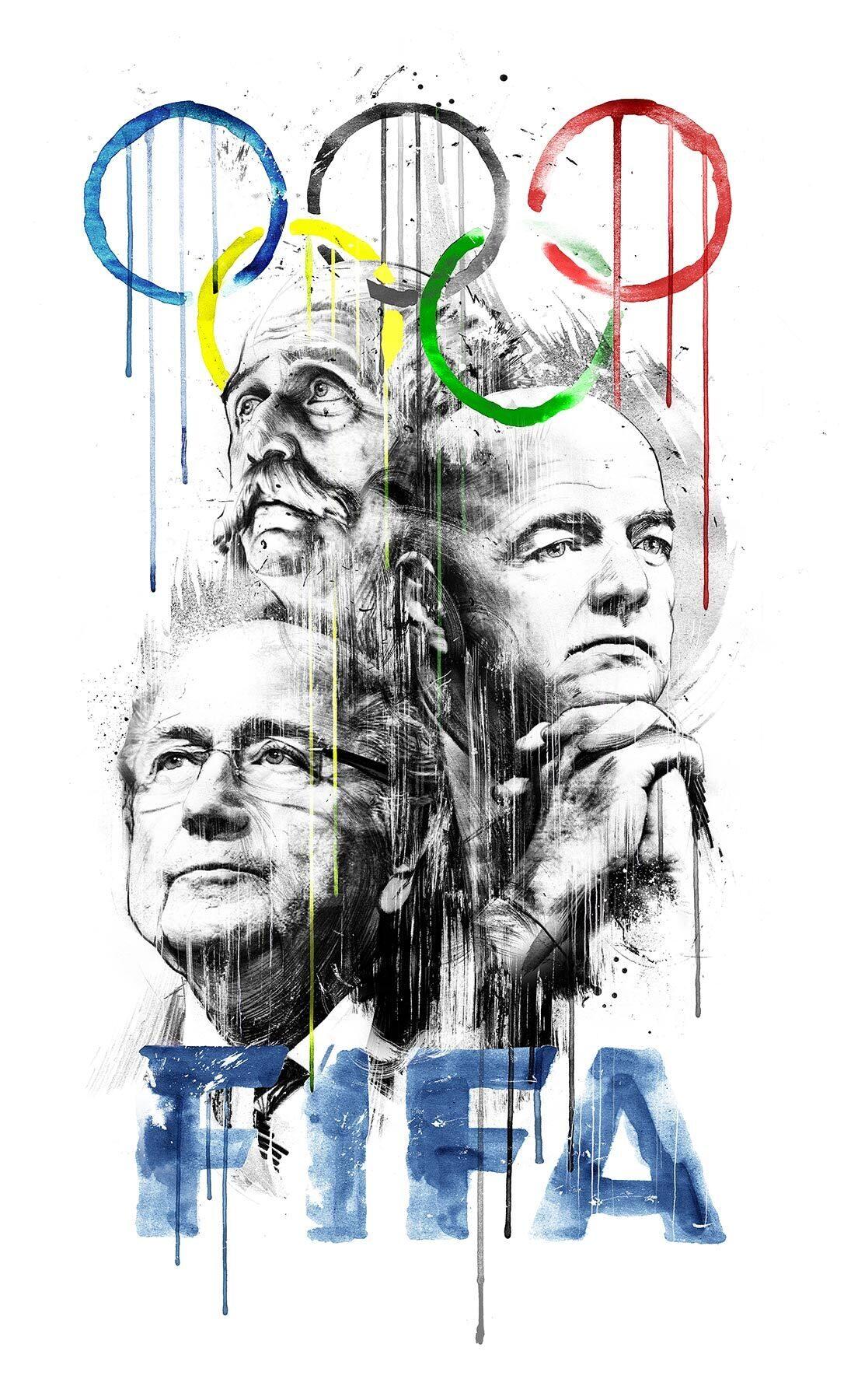 Illustration Olympia FIFA Blatter Infantino - Kornel Illustration   Kornel Stadler portfolio