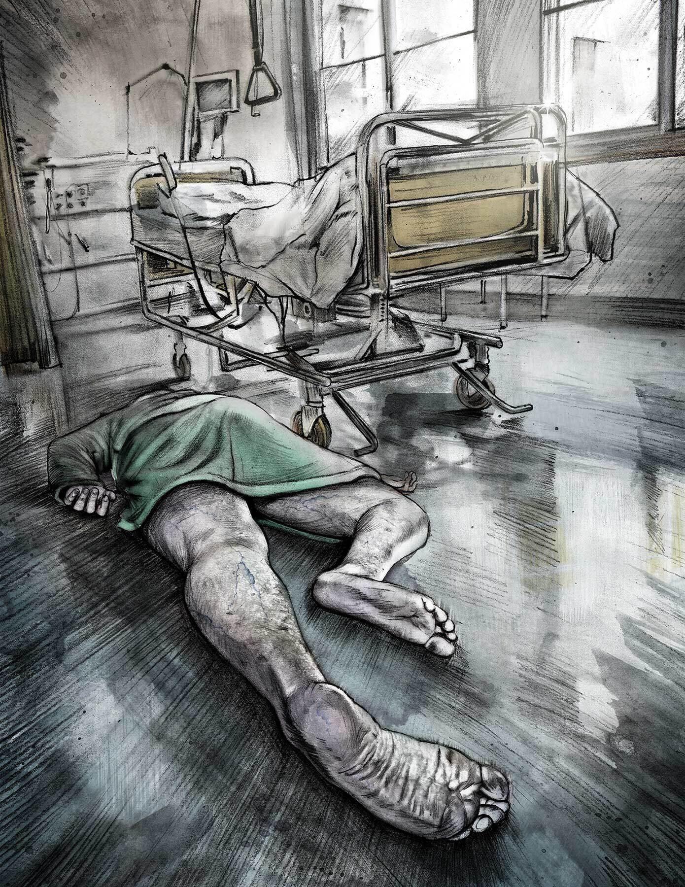 Illustration hospital bed - Kornel Illustration | Kornel Stadler portfolio
