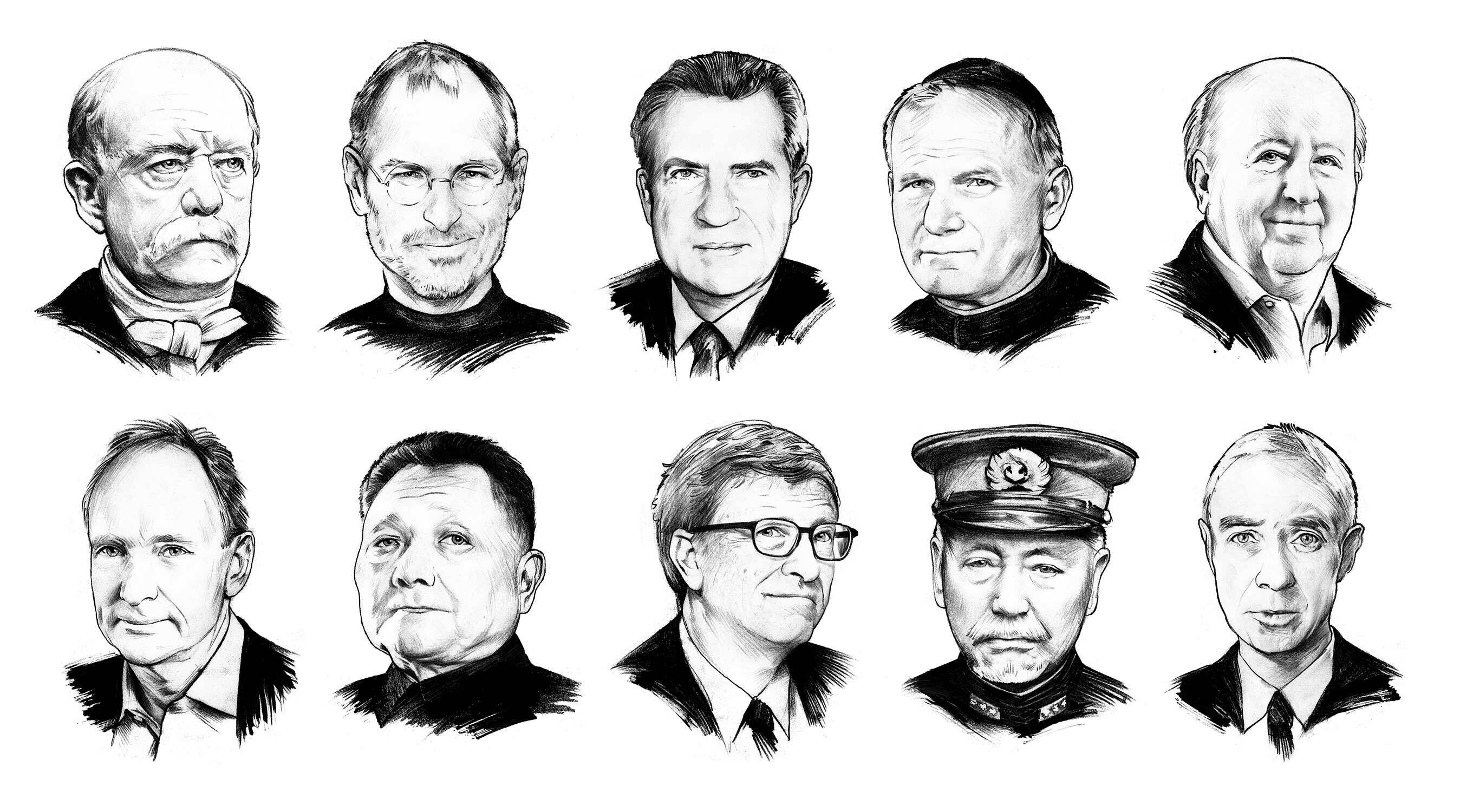 Portrait series illustration jahresbericht black and white editorial - Kornel Illustration | Kornel Stadler portfolio