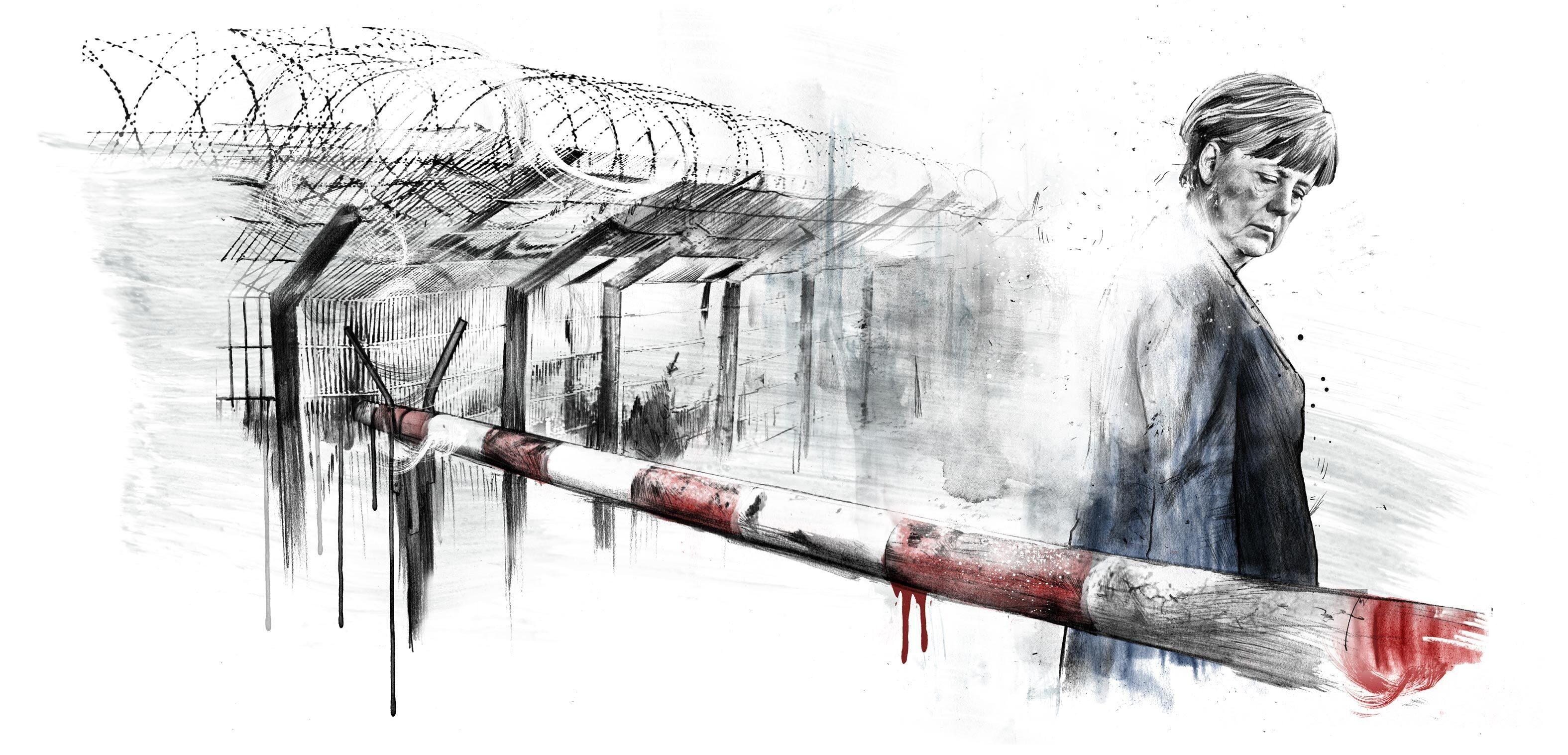 Merkel Grenze geschlossen - Kornel Illustration | Kornel Stadler portfolio