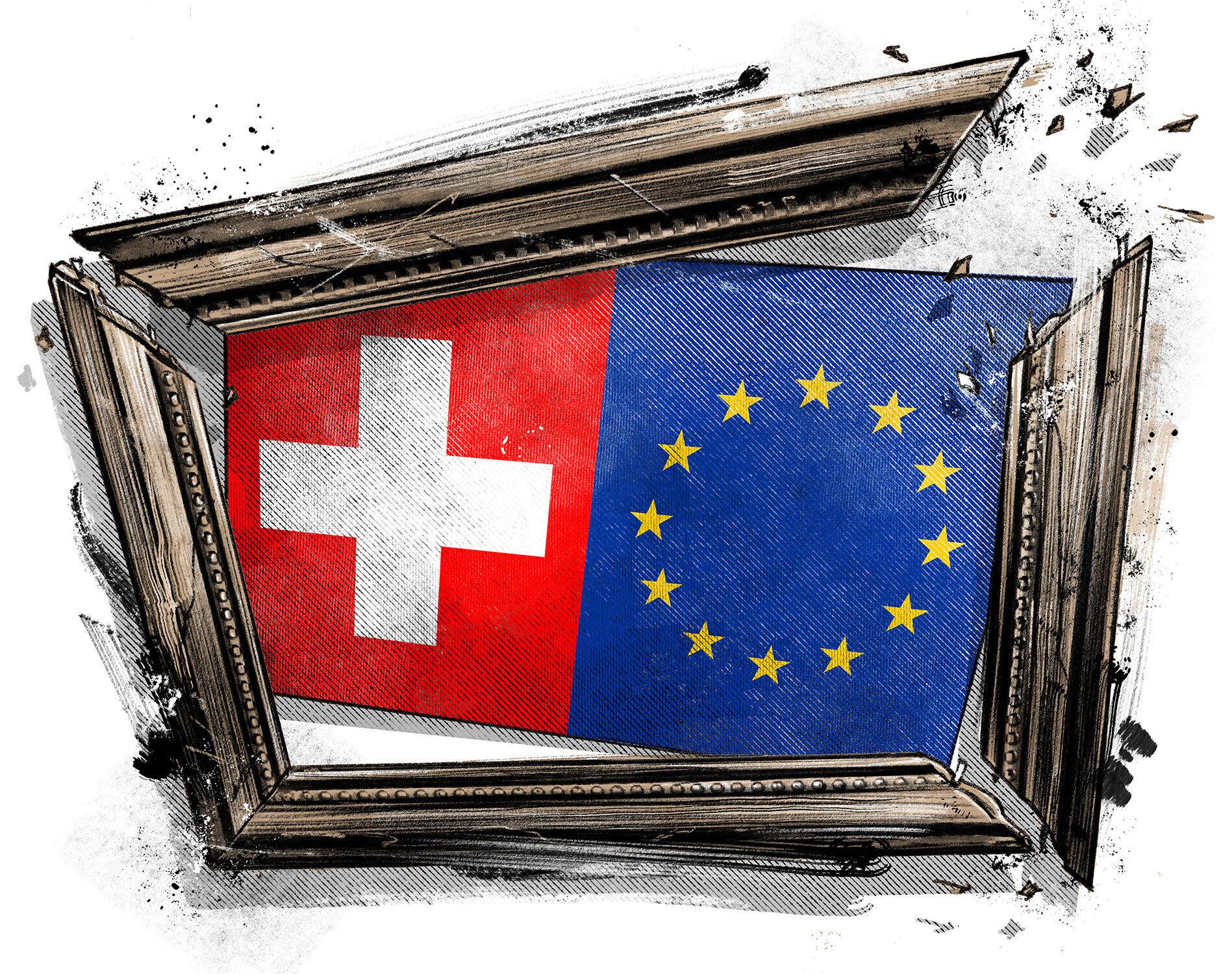 Rahmenabkommen editorial illustration eu schweiz - Kornel Illustration | Kornel Stadler portfolio
