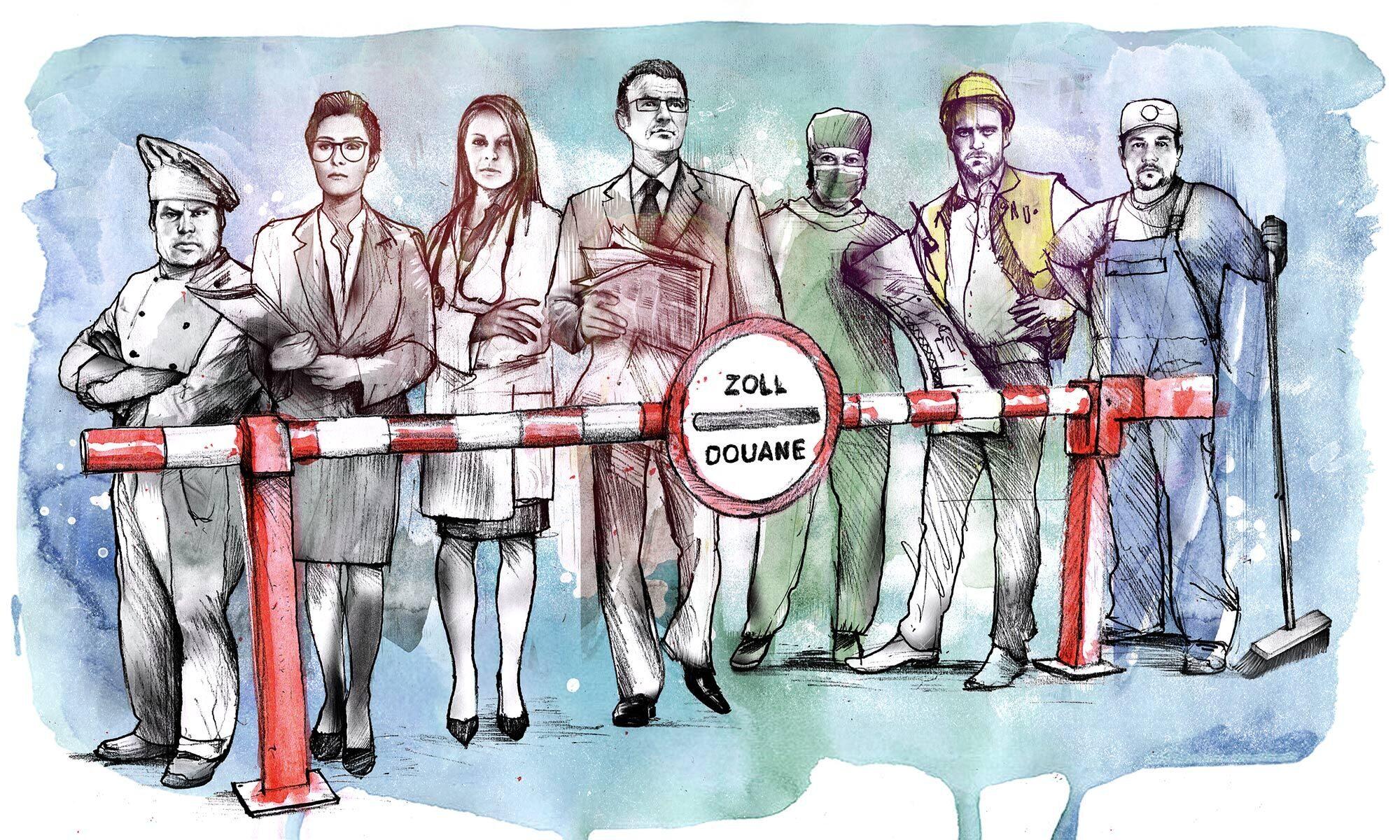 Wirtschaftsprognose Zoll Berufe Illustration - Kornel Illustration   Kornel Stadler portfolio