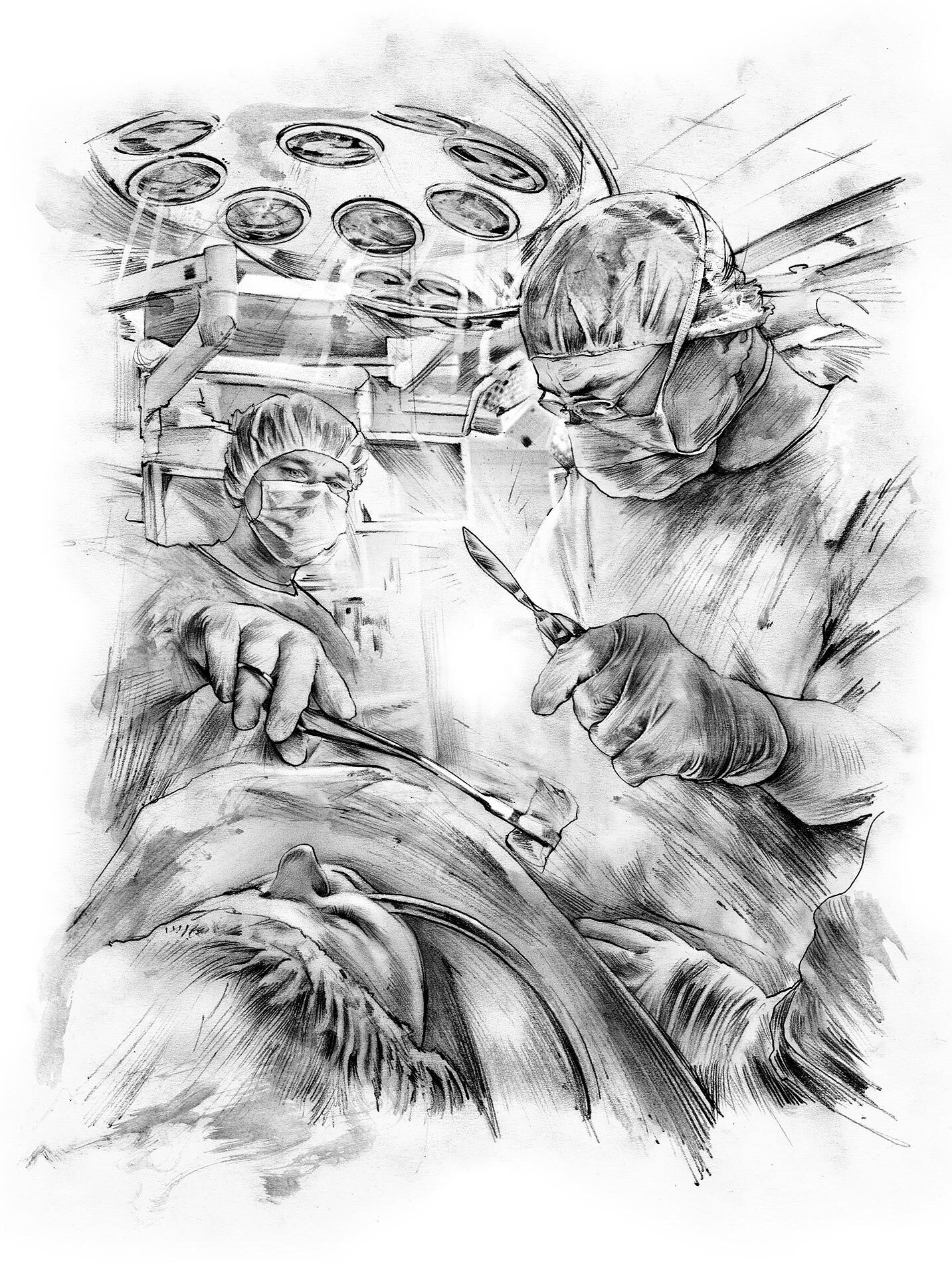 Operation illustration skizze skalpell - Kornel Illustration | Kornel Stadler portfolio