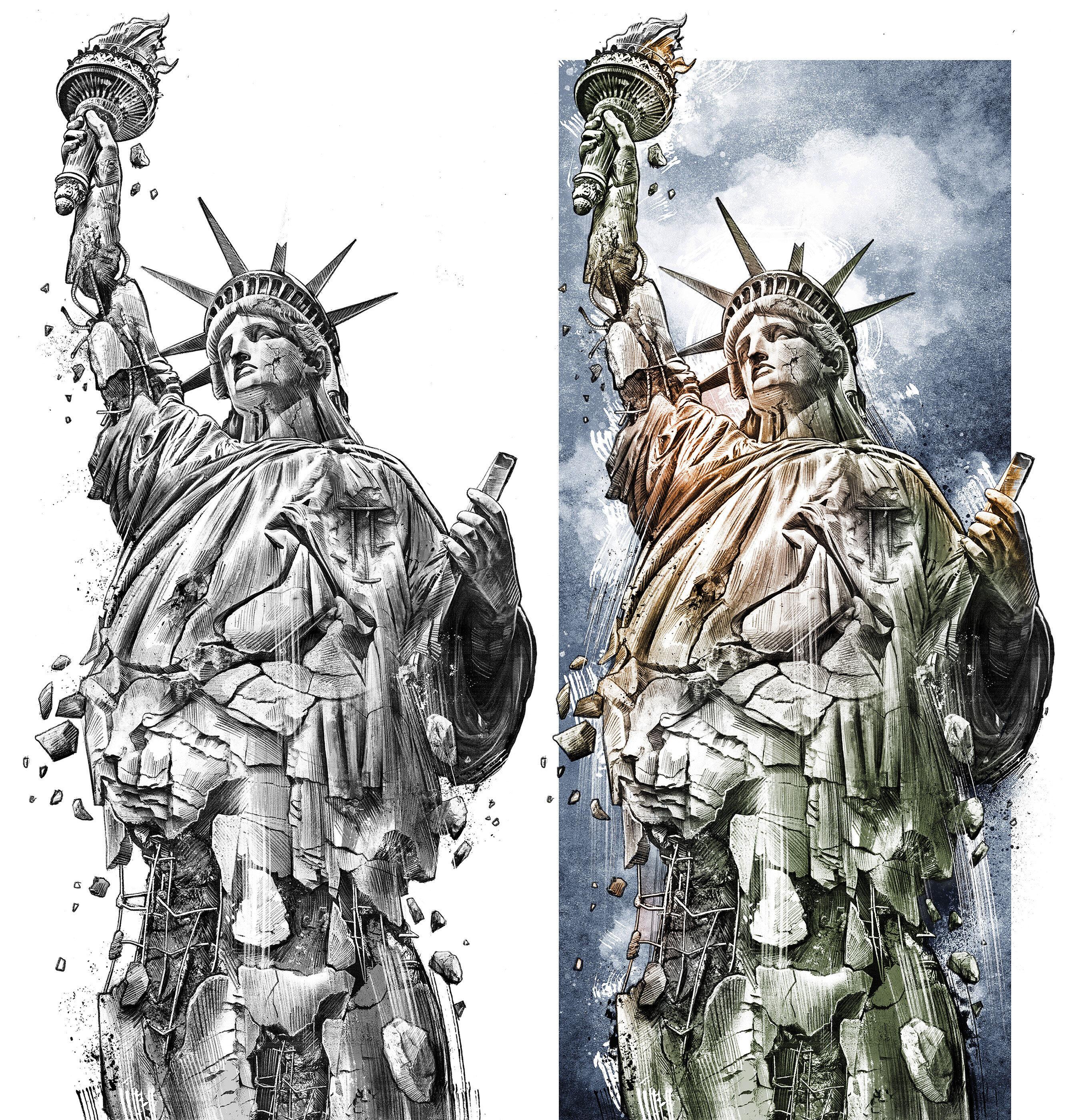 Decay Statue of Liberty - Kornel Illustration | Kornel Stadler portfolio